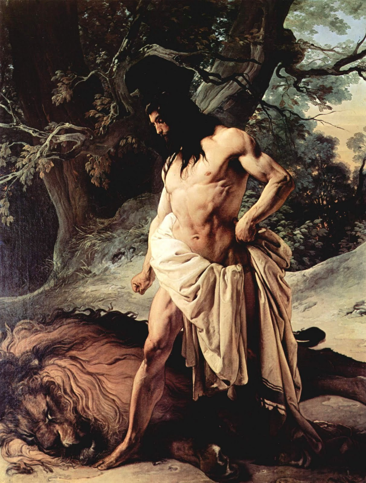 Samson And Lion Francesco Hayez